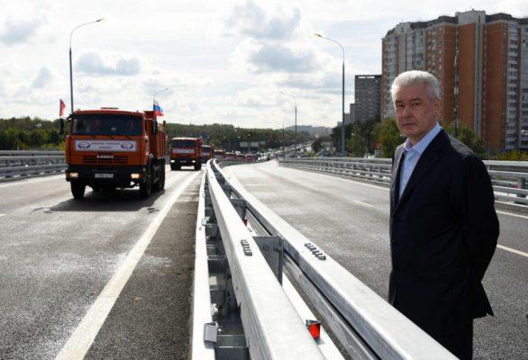 Мэр Москвы открыл движение по новой эстакаде на Липецкой улице