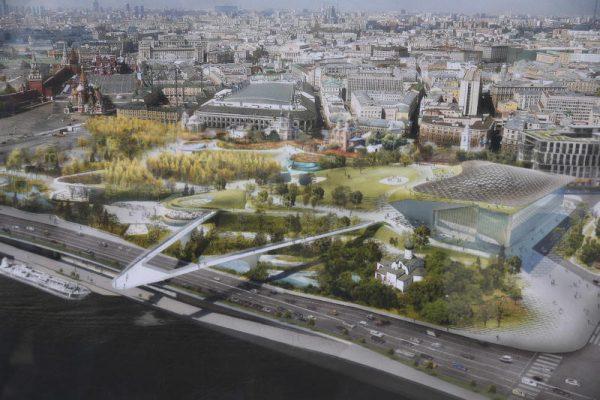 В парке «Зарядье» практически завершили создание искусственных водоемов